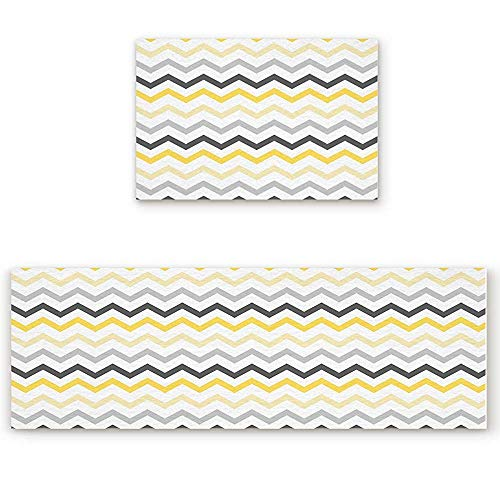 YGUII Kitchen Rugs and Runner Set 2 Pieces Non Skid Washable Indoor Entrance Doormat Floor Mat Carpet for Kitchen/Bedroom/Washroom,Yellow Grey Black Chevron 16X23.6in (40x60cm) and 16X47in (40x120cm)