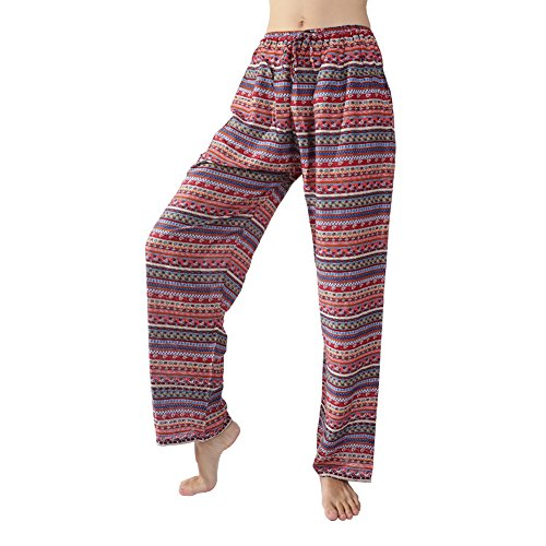 Rita & Risa Women/'s Boho Long Loose Pajama PJ Sleep Pants Lounge Bottoms, Multicolored-Red, Medium (Halloween Denver Co)