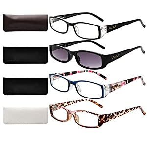 LianSan Ladies Designer Readers Spring Hinge Womens Magnifying Eyeglasses with Sun Reading Glasses Lightweight Rectangular 4 Pack 1.5 1.75 1.25 2.0 1.0 2.5 3.0 3.5 4.0 3200, +1.25 Magnifaction