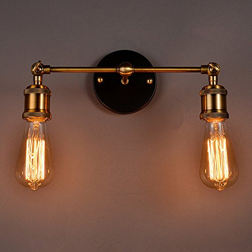 Vintage Wall Sconces Light, MKLOT Ecopower Industrial Vintage Retro Country Style Wrought Iron Bronze Finish Suspension Pendant Wall-Sconces Wall Lamp Wall Lighting with 2 lights Two Light Suspension Pendant