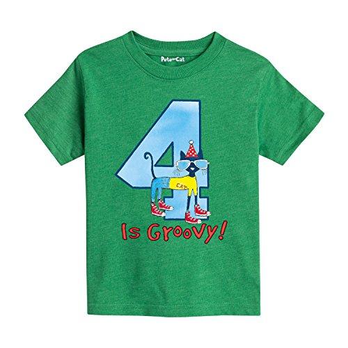 Pete the Cat 4Th Birthday Boys - Toddler Short Sleeve Tee -