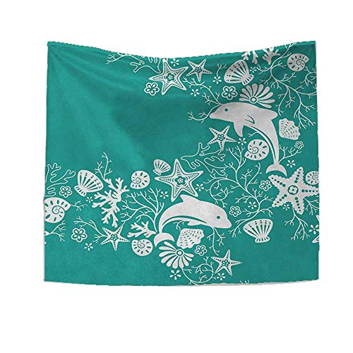 Sea Animals Tapestry Wall Hanging 3D Printing Dolphins Flowers Sea Life Floral Pattern Starfish Coral Seashell Wallpaper Beach Throw Blanket 32W x 32L Inch Sea Green White - Nancy Floral Wall Hanging