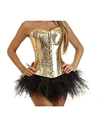 Zhitunemi Women's Gold Sequin Corset Skirt Costume clubwear Showgirl Outfit