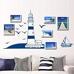 Smartcoco DIY Creative Blue Sailboat Seagull Wall Sticker Pure and Fresh Style Stickers Background Wall Kid Room Living Room Bedroom Decors