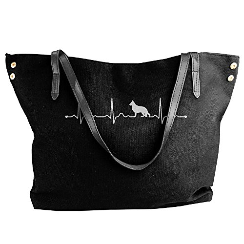 Handbag Shoulder Handbags Large Heartbeat German Women's Tote Shepherd Black Canvas q4IRnAWwv