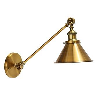 jeteven vintage metal wall sconce mounted retro industrial brass wall light lamp shade adjustable swing
