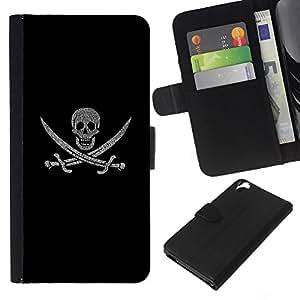 """JackGot ( Pirate Skull & Swords"""" ) HTC Desire 820 la tarjeta de Crédito Slots PU Funda de cuero Monedero caso cubierta de piel"""