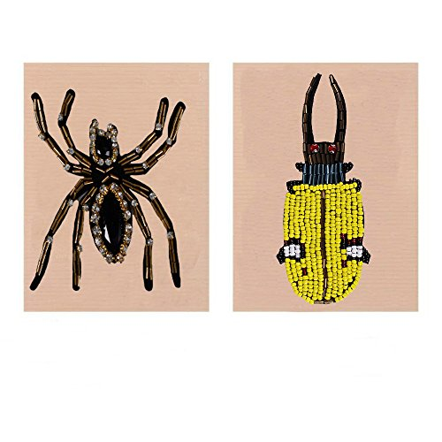 2pieces Craft Spider Beaded Rhinestones Patches Sew on Applique for Shoes Bags Garment DIY Decorated TH645a (MIX)