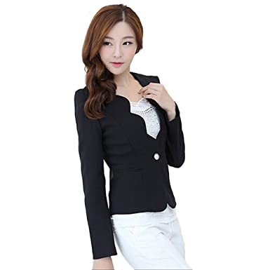5acf1648abb1 Women's Fashion Long Sleeve Korean Style Slim Sexy Suit Blazer Jacket (S,  Black). Roll over image to zoom in