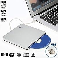 External CD DVD Drive Player for Laptop USB 2.0 Portable Ultra Slim CD DVD ROM Burner Reader for iMac/MacBook Air Laptop…