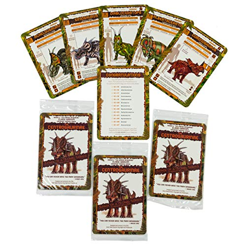 Clade-Gravim Dinosaur Trading Cards for Boys Adults Girls Bundle Series 3 Horned Multi Pack Three 5 Packs of Centrosaurinae