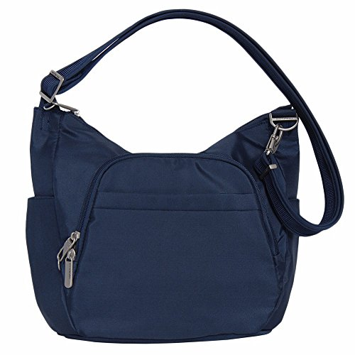 Travelon Anti-Theft Classic Crossbody Bucket Bag (One Size, Midnight w/ Blue Floral Lining)