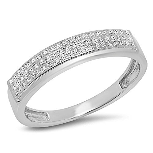 0.14 Carat (ctw) Sterling Silver Round Diamond Men's Micro Pave Hip Hop Wedding Band (Size 7.5) by DazzlingRock Collection