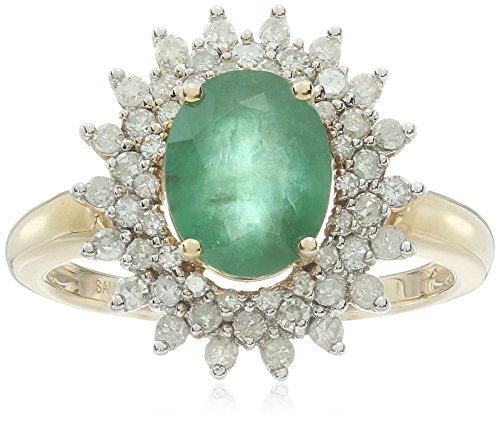 14k Yellow Gold Emerald and Diamond Vintage Ring, Size 7