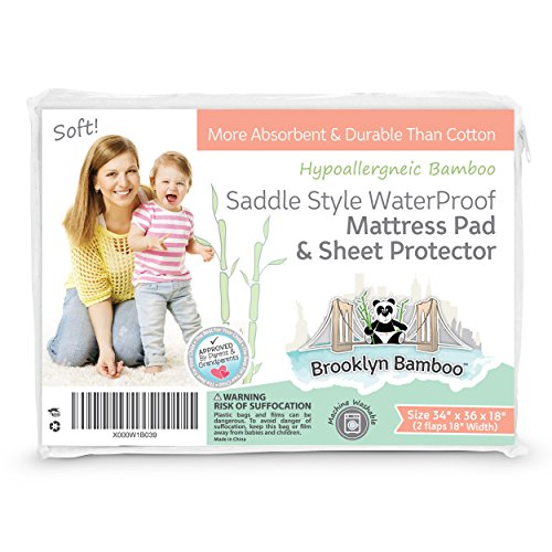 Brooklyn Bamboo | Extremely Soft Bamboo Saddle Style Mattress Pad & Sheet Protector | Waterproof & Hypoallergenic | Superior to Cotton | 34 x 36 Inches | White by Brooklyn Bamboo