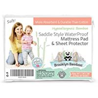 Brooklyn Bamboo | Extremely Soft Bamboo Saddle Style Mattress Pad & Sheet Protector | Waterproof & Hypoallergenic | Superior to Cotton | 34 x 36 Inches | White
