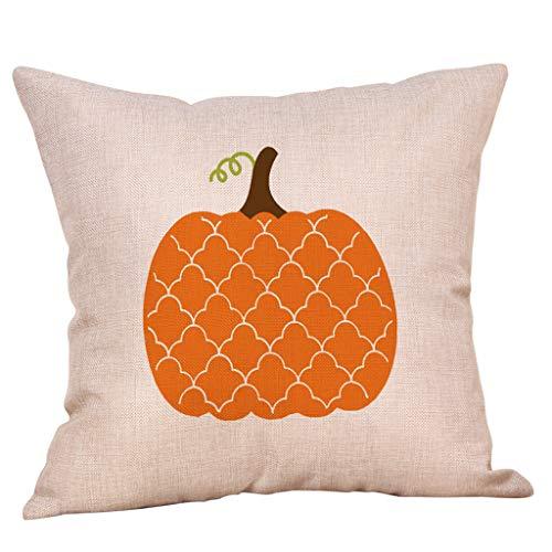 Jessie storee Throw Pillow Case Halloween Pumpkin Cotton Linen Throw Pillow Case Cushion Cover for Room Bedroom Room Sofa Chair Car, Square Pillowcase, 18 x 18 inches, 45 x 45 cm, B]()