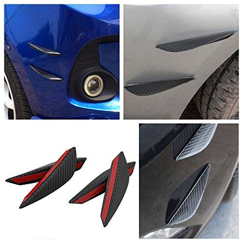 Ruien Carbon Fiber Style Printing 4pcs Front Bumper Fins Lip Kit Canards Splitters Trim Car SUV (Splitter Carbon Front Fiber)