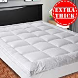 SOPAT Extra Thick Mattress Topper (Queen),Cooling Mattress Pad Cover,Pillow Top Construction (8-21Inch Deep Pocket),Double Border,Down Alternative Fill,Breathable