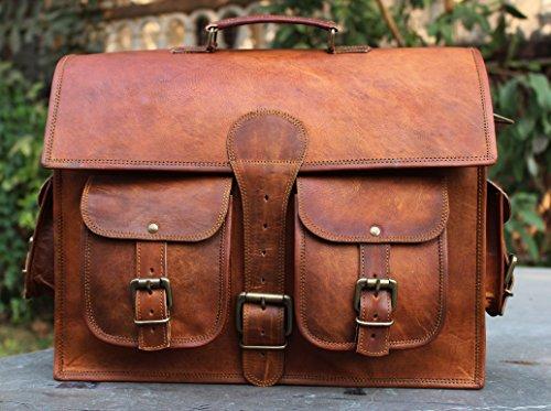 Handmade Craft Genuine Leather Unisex Messenger Bag for Laptop
