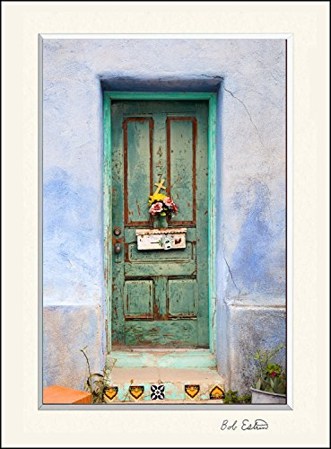 11 x 14 inch mat including photograph of colorful American Southwest painted green door with flowers mailbox and cross on adobe blue wall.