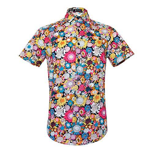 (MCULIVOD Men's Hawaiian Short Sleeve Casual Button Down Shirt,Flower Printing Shirt)