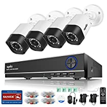 Sannce 8 Channel 1080N HD-TVI DVR Security System w/ 4 720P Weatherproof Indoor/Outdoor CCTV Camera Systems, Superior Night Vision, Support AHD/TVI/CVI/960H Security Camera Mode-NO HDD