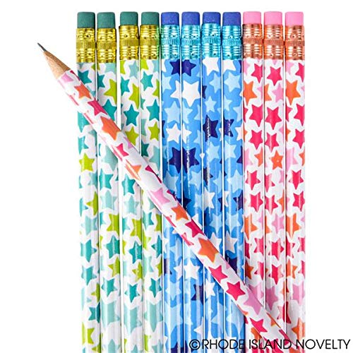24 Colorful Festive Star Pencils ~ Goody Bags, Giveaways, Classroom Student Awards, Patriotic