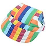 BUYITNOW Small Dog Hat Stripe Pet Baseball Cap with Ear Holes, Adjustable for 4-11lbs