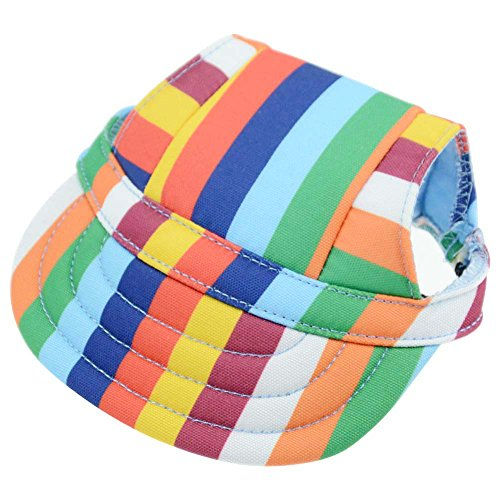 BUYITNOW Small Dog Hat Stripe Pet Baseball Cap with Ear Holes, Adjustable for 12-20 lbs ()