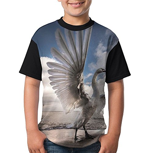 Stretch The Bird Kids Boy's 3D Printed Short Sleeve Funny Round Neck Tshirts (The Wonder Years Bird Costume)