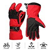 Mounchain Skiing Gloves Women Men Waterproof Windproof and Breathable Womens Mens Warm Gloves with Wrist Leashes, Zipper and Pocket, Anti-Slip PU Palm and Polyester Fabric Back with Insulated Cotton