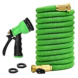 Glayko Tm 100 Feet Expandable Garden Hose - NEW 2017- Super Strong Construction- Strong Webbing -Solid Brass End + 8 Function Spray Nozzle and Shut-off Valve, Green