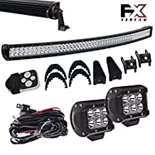 4XBEAM DOT Windshield Roof Lights 54 Inch Curved Offroad Led Light Bar Wiring Kit Bumper Lights for Tundra Chevy Boat Chevrolet Silverado Truck Ford F250 2 Door Tahoe Rtv Jeep TJ XJ