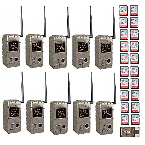 - Cuddeback (10) 20MP Dual Flash Trail Cameras with CuddeLink Wireless Network CL-Caps & 20 SD Cards
