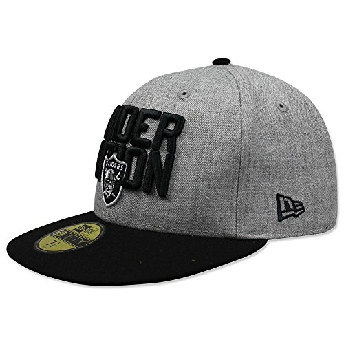 New Era Authentic Raiders Heather Gray/Black 2018 NFL Draft Official On-Stage 59FIFTY Fitted Hat (7 1/4) - 7 1/4 (Raiders Cap Draft)