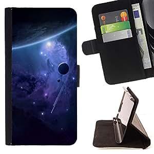 BullDog Case - FOR/Sony Xperia Z1 L39 / - / purple alien galaxy stars universe planet /- Monedero de cuero de la PU Llevar cubierta de la caja con el ID Credit Card Slots Flip funda de cuer