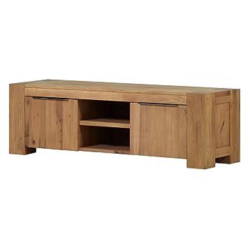 tv lowboard fernsehschrank unterschrank granby 160 cm massivholz holz eiche massiv balkeneiche natural breite