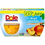 Dole Fruit Bowls, Diced Peaches in 100% Fruit Juice, 4 Ounce (4 Cups), All Natural Diced Peaches Packed in Fruit Juice, Naturally Gluten Free, Non-GMO, No Artificial Sweeteners