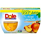 Dole Fruit Bowls, Yellow Cling Diced Peaches in 100% Juice, 4 Ounce Cups, (Pack of 12)