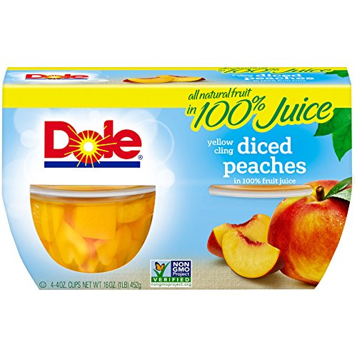 DOLE FRUIT BOWLS, Yellow Cling Diced Peaches in 100% Fruit Juice, 4 Ounce (12 Cups)