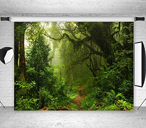 (LB Jungle Forest Backdrops for Photography 7X5ft Vinyl Green Rainforest Background Kids Baby Shower Birthday Party Portraits Photo Booth)