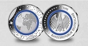 5 EURO Münze - Blauer Polymerring - Deutschland 2016 -