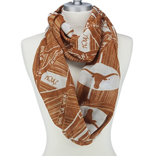 Texas Longhorns Lightweight Infinity Scarf Emblazoned with Geometric Designs, Logos and - Texas Light Longhorns