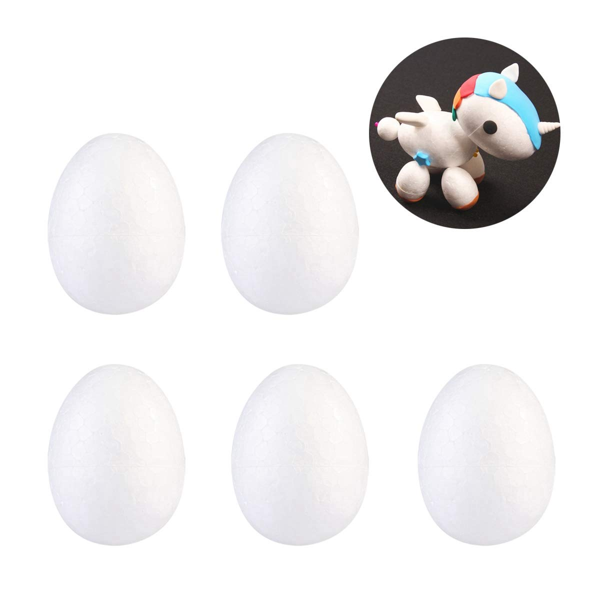 Amosfun Painting Foam Egg DIY Easter Styrofoam Decor for Kid Festival Crafts Easter Gift EASTER Party Decoration 20pcs 6cm