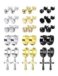 Thunaraz 15Pairs Stainless Steel Stud Earrings Round CZ Non-piercing Magnetic Earrings Cross Earrings Cross Dangle Hinged Hoop Earrings Set for Men Women