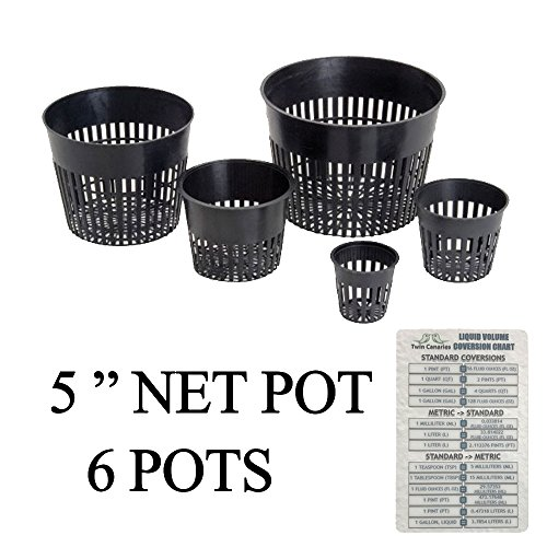 "3' Grow Cups - Hydroponic Net Cup Pots + Twin Canaries Chart - 5"" Net Pot - 6 Pots"