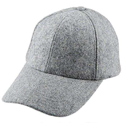 Samtree Unisex Woolen Baseball Cap,Adjustable Wide Brim Warm Snapback Hat (01-Light Grey(Woolen)) (Grey Wool Hat)