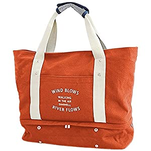 VanFn Duffle Bags, Canvas Sports Duffels with Shoes Compartment, Travel Totes Duffel Bag, Gym Bags, Outdoor Weekend Bag, Luggage Duffle Backpack, Sports Shoulder Handbag For Men & Women (Orange)