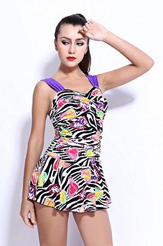 HZZ Traje de baño de las mujeres más el tamaño de una pieza del vestido de la nadada del cuerpo ropa de playa que forma con Corto picture color 3
